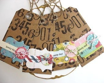 Wrap Around Label Paper Buttons Rustic Gift Tags set no 3, Pretty Packaging, Kraft, Primitive, Grunge Tags, Spring Colors