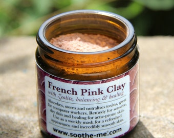 French Pink Clay and Zeolite powders, repairing mask for sensitive skin