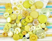 60 Assorted Vintage Yellow Plastic Buttons