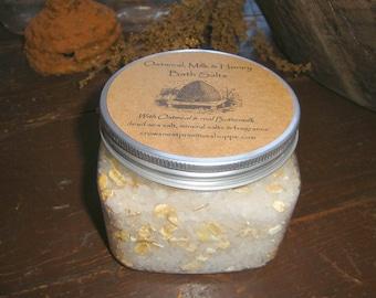 Oatmeal, Milk & Honey Bath Salts made with dead sea salt, real buttermilk and organic oats