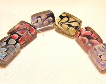 DESTASH -- Six (6) Rectangular Multicolor and Black Swirl Lampwork Beads