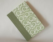 Lined blank book  journal- 6x8.5in 15x22cm - sage with fern print- Ready to ship