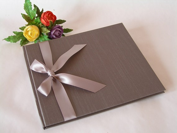 Guest book  unlined - luminescent grey/taupe with silver ribbon (8x9in 20x23cm) - Ready to ship