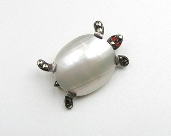 French Silver Tone / Mother of Pearl Turtle Brooch with Maker Mark