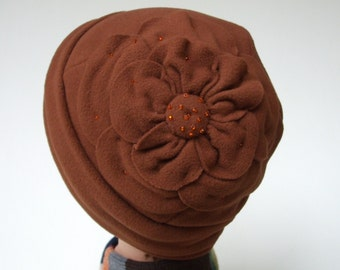Micro Fleece Hat, Winter Hat, Women Fleece Hat, Soft Chemo Hat, Cinnamon Brown, Petal Blossom Design, Women Size M, Seed Beads, One Only