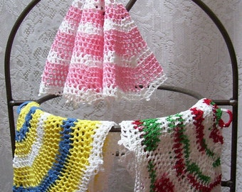 FREE SHIP - Set of 3 assorted hand crocheted cotton string French dishcloths with hoop hangers - Little dancing ladies