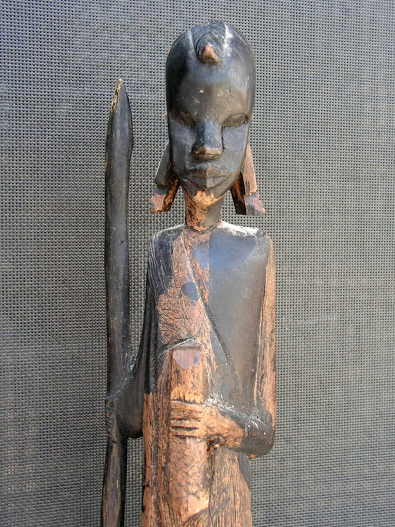 African tribal wood carving statue hand carved wooden bali