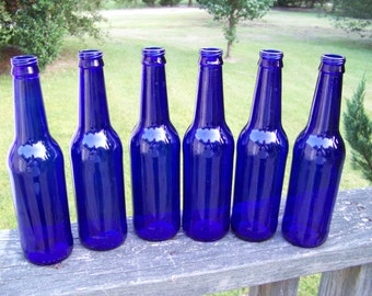3 Beautiful Cobalt Blue Glass Bottles...Lot of 3...Wedding Garden Man Cave Craft Supply...Sun Catcher...Candle Holder