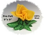 "Dream Felt's BUTTERCUP YELLOW Merino Pre-Felt 9"" x 9"" 100% Wool Fabric Perfect for Needle Felting"