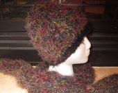 Fuzzy Dark Multi color Beanie With Black Trim And Matching Scarf