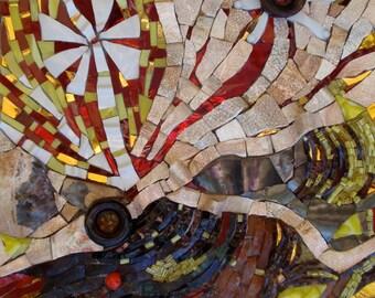 Pensacola Relics Revived ~ Upcycled Abstract Mosaic Wall Hanging