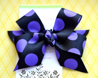 Black with Purple Dots Classic Diva Bow