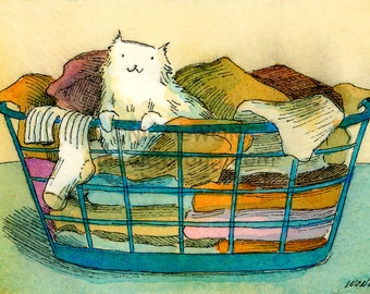 ACEO Print -- Laundry Basket Cat
