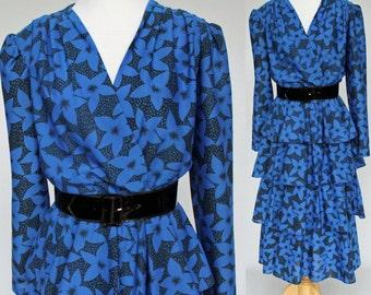70's Disco Wrap Dress / Cobalt Blue & Black Print /  Elastic Waist / Medium to Large