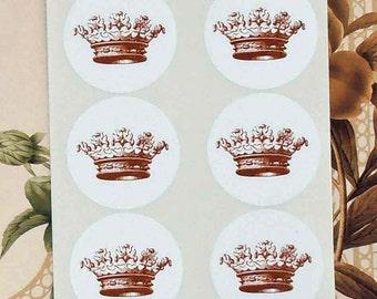 Crown Stickers Princess Party Envelope Seals Party Favor Treat Bag Stickers Royal Wedding SP012