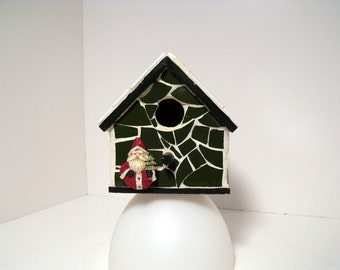 Mosaic Christmas Bird House with Santa
