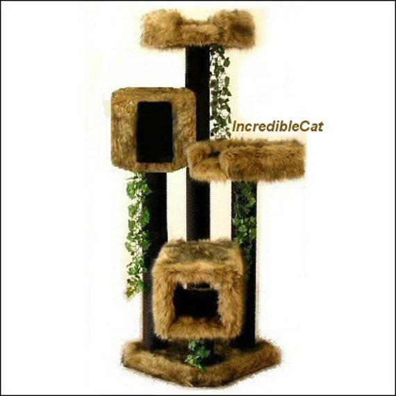 DESIGNER CAT FURNITURE. 5' High Copper Mt, Best Cat Bed, High End Cat Tree, Elegant Cat Condo, Fancy Cat Tree, Majestic Copper Mt 5F2BHT