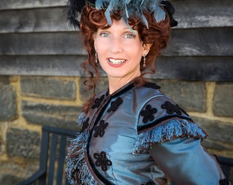FOR ORDERS ONLY - Custom Made - 1800s Victorian Dress 1860s Civil War Day Gown and Ball Bodice - Bolero Jacket Skirt - Fringe