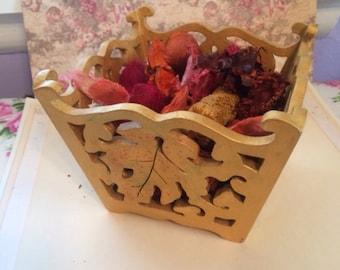 Wooden cut out potpourri box.