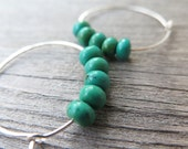 turquoise earrings. turquoise jewelry. sterling silver hoops. made in Canada.