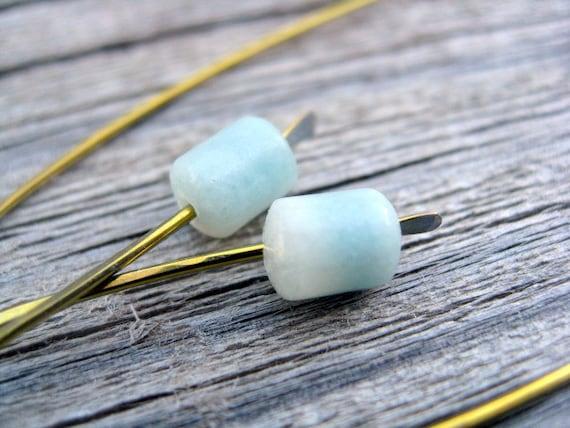 modern earrings in amazonite and yellow gold niobium. blue jewelry.