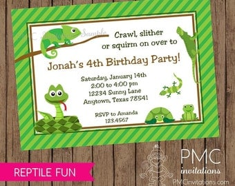 Reptile Birthday Invitations - 1.00 each with envelopes