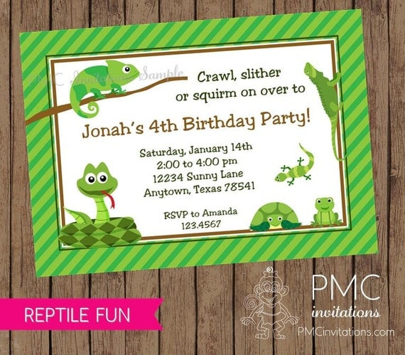 Reptile Birthday Invitations 100 each with envelopes by Paper
