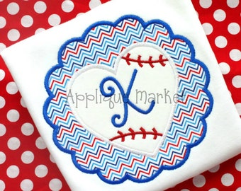 Machine Embroidery Design Applique Scallop Baseball Heart INSTANT DOWNLOAD