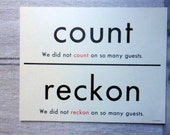 count/reckon/bestow/give two sided large flash card