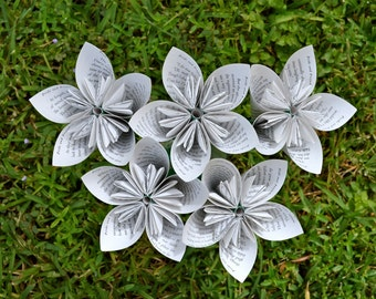 Pride and Prejudice Recycled Book Paper Flowers {5 Medium Size}