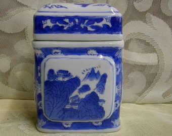 Chinese Tea Caddy Blue And White