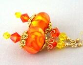 Orange and yellow earrings, artisan lampwork glass, Swarovski crystal - Marigolds