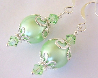 Mint green pearl earrings, glass with silver filigree, pastel pale green earrings