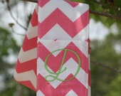 Camera Strap Cover- lens cap pocket and padding included- Monogrammed Pink Chevron
