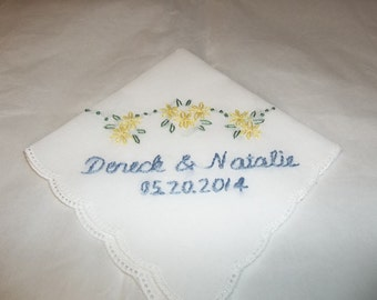 something blue wedding handkerchief, personalized with names and dates, blue and yellow, picot edged hanky, wrap,wedding colors welcome