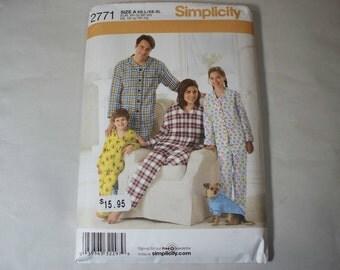 New Simplicity Family Sleepwear Pattern, 2771 (Free US Shipping)