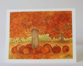 Autumn Watercolor Note Cards Trees Orange Gold Pumpkins and Leaves: Set of 8 Cards