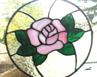 Stained Glass Iridescent Pink Rose Suncatcher Panel