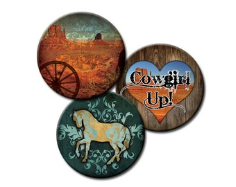 Western Theme - 18mm and 16mm circles - (2) Digital collage sheets