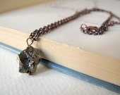 PYRITE // Cooper necklace with natural raw Pyrite