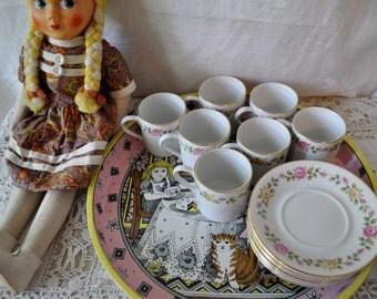 Fine Antique French Porcelain Cups/Vintage 1930s/Set of Seven Demitasse Cups and Saucers/Rose Garland Decoration/Elegant Tea Party Set