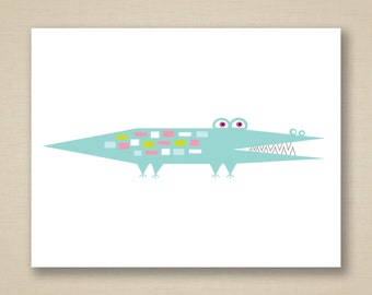 Mid Century Aqua Alligator Greeting Card - Recycled Stock & Envelope - Oliver