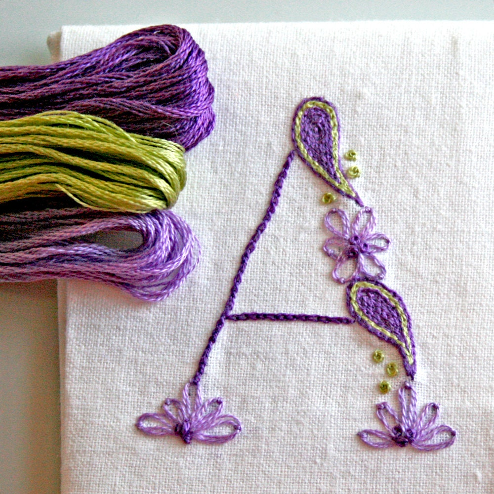 Diy pdf crewel embroidery pattern monogram a is for amethyst