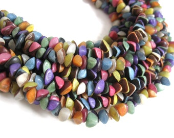 Buri seed nuggets dyed beads - multicolor - 1 strand (PN200)