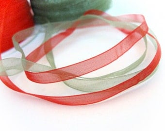 "Red Organza Ribbon 1/4"" for gift packaging or crafting - 10 yards (30 feets)"