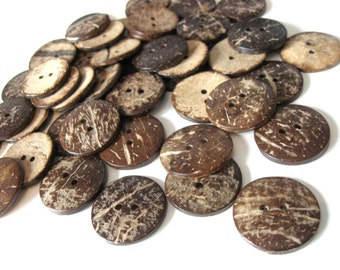 10 Brown Coconut Shell Buttons 25mm - Natural and Eco Friendly  (BC603D)