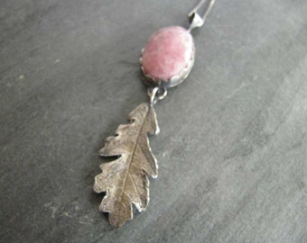 Pink Rhodocrosite Necklace with Oak Leaf in Sterling Silver