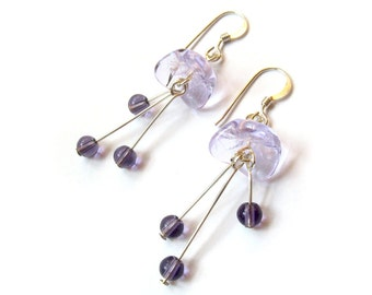 Sterling Silver Lavender Purple Flower Earrings