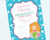 Mermaid Party Printables Instant Download - The Olivia Collection