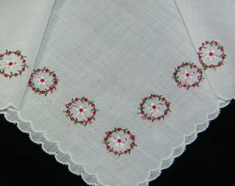 "Vintage 1950's 11"" Red & Green Embroidered Floral Wedding Handkerchief, Hankie, Hanky, 9441"
